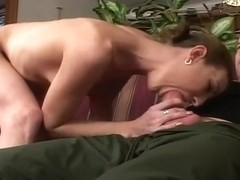 Hot Brunette Gets Double Penetrated On Couch