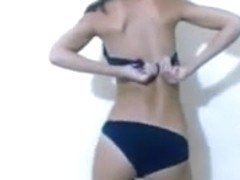 Cute college girl strips down gets milk on her sexy body