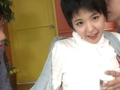 Insolent Japanese beauty gets ready to fuck with two gu