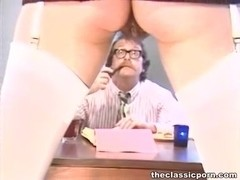 Hairy pussy slut treats cock orally