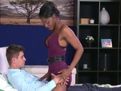 Ebony girl playing with big cock