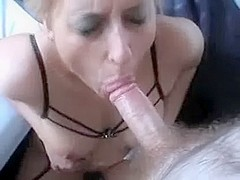 Non-Professional golden-haired deepthroat and incredible facial in homemade sex movie scene
