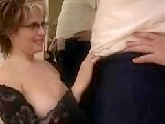 Facial for busty mature with glasses