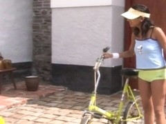 Czech college girl On bike is pussy creamed