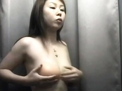 Asiab babe show her tits in changing room on cam