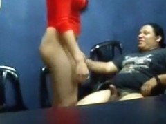Latina milf with big booty has oral, cowgirl and doggystyle sex on a chair