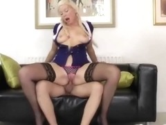 Youthful brit stewardess pussyfucked by sir