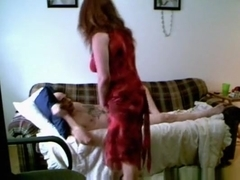 Redhead milf long sofa sex session part2