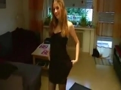 Sexy golden-haired screwed with her pants on
