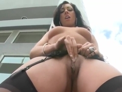 Hot and relaxed Tiffany Brooks strips and rides Voodoo's face
