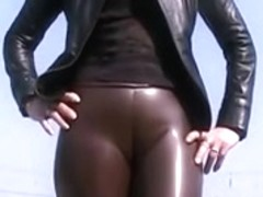showing us her latex wazoo & cameltoe