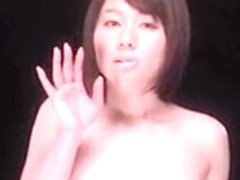 Horny japanese girl kiss glass