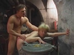 Young boy fucks old blonde whore in the basement