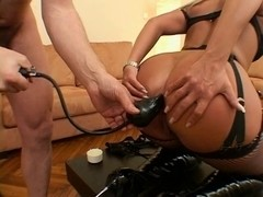Blond in boots acquires severe anal treatment