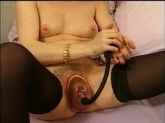 wife french playing with her large vagina ,toys and pump