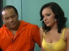 Young cute whore for two sex-hungry prisoners