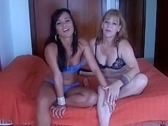 Mature and young girl's ally cam show