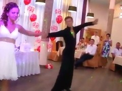 Acrobatic wedding dance reveals panties