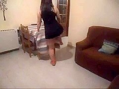 Latin wife fills both holes with dildohs