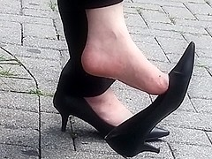 Candid mature shoe dangle