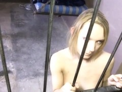 Face fucked through jail cell bars