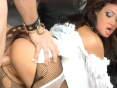 Group sex in ripped fishnet underware and heels
