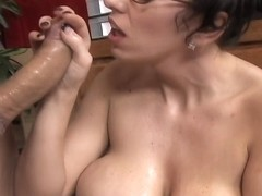 Next Door Mommies: Big breasted mom strokes a black cock
