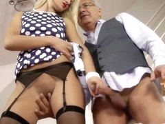 Juvenile british hottie jerks old sirs shlong