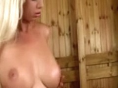 Blond beating off at work