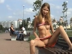 Young Russian babe's public flashing