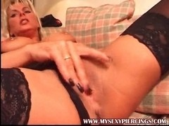 Pierced teats mother I'd like to fuck in dark nylons rubbing hairless twat