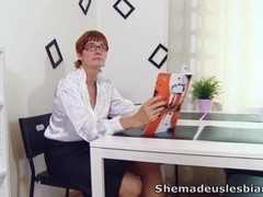 Marina and her sexy young female friend are struggling for grades and go to their lesbian teacher.