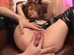 Huge fountain of a young asian girl