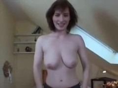 Babe with big tits swallows huge cock