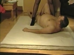 Busty wife fucks her lover on the floor