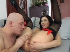 Great babe Anne Angel gets her asshole trained with a pink dildo