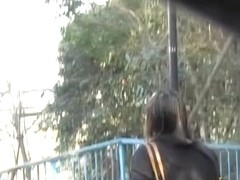 Curvy carefree bimbo getting caught of her guard during public sharking