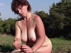 HORNY BUSTY HAIRY MATURE M. & HER TOY BOY -B$R