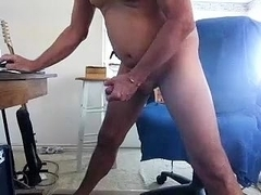 Enchanting fag is jerking off in the apartment and filming himself on web cam