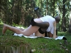 Naughty amateur girl fucking in the forest
