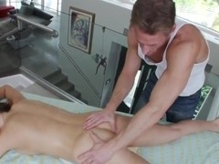 Hot brunette Teal Conrad gets massaged in close up