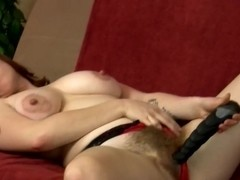 Super hairy girl Velma fucks her rubber toy
