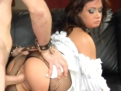 Group sex in ripped fishnet lingerie and heels