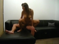 Very hot brunette fucks her bf in various positions on the sofa