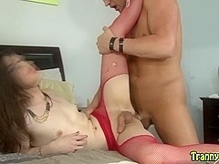 Cute tgirl rides cock and rubs her dick