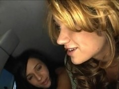Ashli Orion, Chelsie Rae and their girlfriend are getting in some guy's car and naughtily s.
