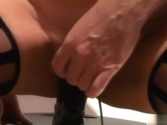 Part two sitting on large sex-toy and cumming
