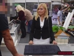 Milf gets easily persuaded to have sex at the pawnshop after losing her job