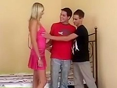 Bisexual twinks with blond babe.
