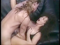 Beautiful brunette comforts him with her big wobblers